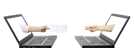 Email communication concept. Letter sent from computer to computer - technology linking people Stock Image