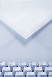 Email concept. Envelope and keyboard, concept of email Royalty Free Stock Photography