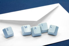 Email concept. Envelope and keys, concept of email Royalty Free Stock Images