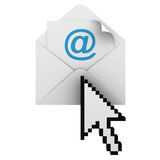 Email Concept. E-mail with arrow cursor isolated on white background royalty free illustration