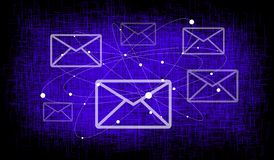 Email concept on blue crisscross mesh background. Email concept on dark blue crisscross mesh background royalty free stock photo