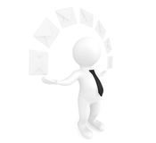 Email Concept. 3d person with envelopes Royalty Free Stock Photo