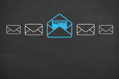 Email Concept Drawing on Blackboard Texture Royalty Free Stock Photos