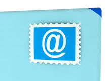 Email concept with envelope and stamp Royalty Free Stock Photos