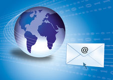 Email concept with globe. Email / internet concept showing globe and envelopes Stock Photos