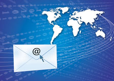 Email concept with globe. Email / internet concept showing globe and envelopes Royalty Free Stock Images