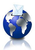 Email concept with globe. 3d globe with email envelope Stock Photography