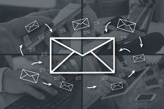 Concept of email. Email concept illustrated by pictures on background royalty free stock photography