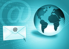 Email concept / Internet mail. Email concept with globe and envelope in turquoise blue background Stock Image