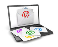Email concept with laptop Stock Photo