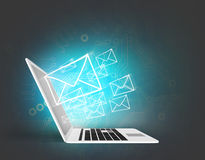 Email concept with laptop Royalty Free Stock Image