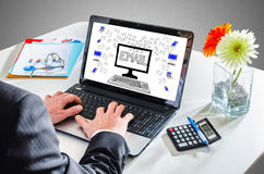 Email concept on a laptop screen Royalty Free Stock Photography