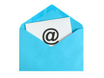 Email concept. Paper sheet with email icon in blue envelope Royalty Free Stock Image