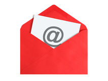 Email concept. Paper sheet with email icon in red envelope Royalty Free Stock Image