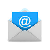 Email concept at sign on blue paper in white envelope Royalty Free Stock Photos