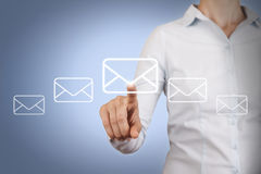 Email Concept Touching on Visual Screen. On working business concept Stock Image