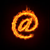 Email concepts. A burning at sign with flames, for email concepts Royalty Free Stock Photo