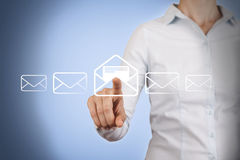 Email Conceptual Touching on Visual Screen Royalty Free Stock Images