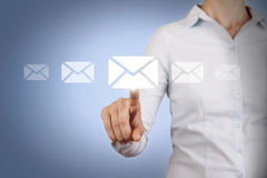 Email Conceptual Work on Touch Screen Royalty Free Stock Image