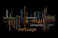 Email, concetto della nuvola di parola di comunicazione digitale fotografia stock libera da diritti