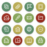 Email contour icons on color buttons. Stock Image