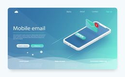 Email service isometric vector illustration. E-mail marketing concept, marketing research. New message on the smartphone screen. stock illustration