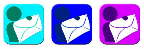 Email cool icons. Can be used as icon/image for email or messaging or as mobile app image stock illustration