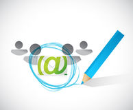 Email correspondence people selection Stock Photography