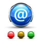 Email Cristal Glossy Button. With light reflection and Cromed ring. 4 Colours included Royalty Free Stock Photo