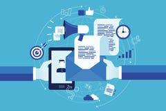 email d'affaires lançant le concept sur le marché en ligne Photo libre de droits