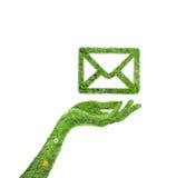 Email da grama do símbolo Fotografia de Stock Royalty Free
