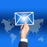 Email da preensão da mão do negócio Foto de Stock Royalty Free