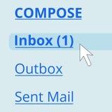 Email dans la boîte de réception Photo stock