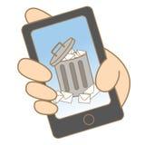 Email de los desperdicios en el teléfono móvil Imagenes de archivo