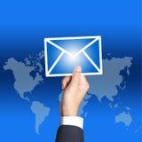 Email del asimiento de la mano del asunto Foto de archivo libre de regalías
