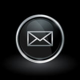 Email delivery envelope icon inside round silver and black emblem Royalty Free Stock Photos