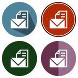 Email dell'archivio piano delle icone Immagine Stock Libera da Diritti