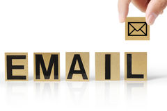 Email di parola e della mano Immagine Stock