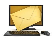 Email do computador e do envelope ilustração stock