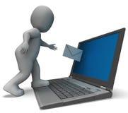 Email do portátil que mostra a correspondência do email ilustração royalty free