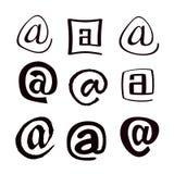 Email dos símbolos em um fundo branco Fotografia de Stock
