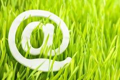 Email e hierba fresca Foto de archivo libre de regalías
