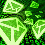 Email e-mail digital mail spam binary code symbol. E-mail data transfer symbol with green binary code background representing internet communications and digital
