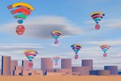Email e simboli di volo di Wi-Fi Fotografie Stock