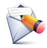 Email e una piccola penna Fotografie Stock Libere da Diritti