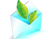 Email, ecology, saving nature, green leaves. Email, ecology, saving nature symbol with green leaves Stock Image