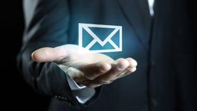 Email em sua mão Imagens de Stock
