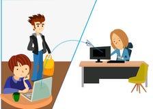 Email entre computadores letra Dois povos ilustração royalty free