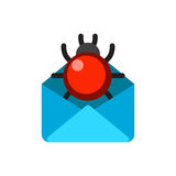 Email envelope cover communication correspondence blank cover with bug vector illustration. Stock Photos
