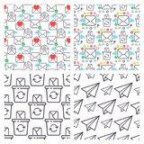 Email envelope cover communication correspondence seamless pattern background outline design paper empty card writing Stock Images